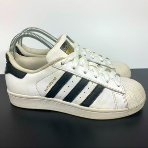 Adidas Superstar White Blue Striped Shoes